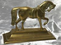 Antique English Victorian Graceful Equestrian Horse Brass Door Stop (13 of 25)