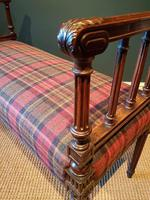 Fine Antique Upholstered Mahogany Reeded Leg Double Stool (4 of 5)
