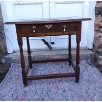 Queen Anne Walnut & Oak Side Table (2 of 6)