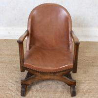Carved Oak Leather Bucket Sofa & Chair (17 of 24)