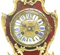 Wow! Phenomenal French Boulle Mantel Clock Red Shell floral Ormolu Mounts 8 Day Mantle Clock (9 of 10)