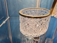 Antique Bohemian Cut to Clear Glass Crystal Box with Gilded Metal Mount (7 of 9)