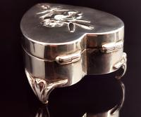 Antique Heart Shaped Silver Jewellery Box, Art Nouveau, William Comyns (5 of 15)