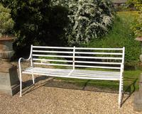 English Regency Wrought Iron Strapwork Garden Bench (2 of 9)