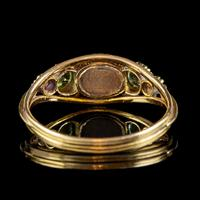 Antique Suffragette Ring Pearl Amethyst Peridot 18ct Gold Locket Back c.1910 (4 of 7)