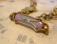 Art Nouveau Pocket Watch Chain 1900 Brass Albert with Pink & Blue Glass Panels (7 of 12)