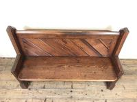 Antique Pitch Pine Church Pew with Enamel Number 37 (M-1639) (3 of 12)