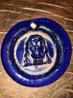 15th / 16th Century Renaissance Venetian Cobalt Christ Pendant (3 of 9)