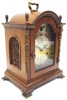 Fine Dutch Walnut Mantel Clock 8 Day Miniature Bracket Clock with Moon Roller (3 of 9)