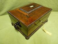 Inlaid Rosewood Jewellery Box + Tray. c1840