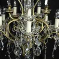 French Gilded & Crystal 10 Light Birdcage Antique Chandelier (3 of 10)
