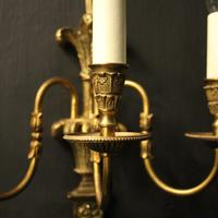 French Set of 4 Gilded Triple Arm Wall Lights (8 of 10)