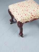 Victorian Carved Mahogany and Upholstered Stool (4 of 4)