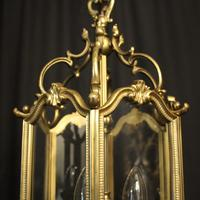 French Gilded Triple Light Antique Hall Lantern (10 of 10)