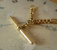 Antique Pocket Watch Chain 1890s Victorian Brass Figaro Link Albert With T Bar (7 of 11)