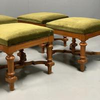 Set of 6 satinwood modular stools in vintage velvet (8 of 8)