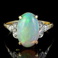 Antique Edwardian Natural Opal Diamond Ring 18ct Gold 5.50ct Opal c.1901 (7 of 7)