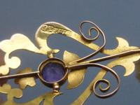 Edwardian 9ct Gold, Amethyst & Pearl Pendant (4 of 5)