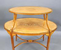 Elegant Inlaid Satinwood Étagère Two Tier Table c.1890 (3 of 6)