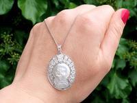 Mother of Pearl & 0.45ct Diamond, Platinum Pendant - Antique c.1920 (3 of 9)