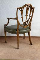 Sheraton Period Leather Covered Carver Chair (6 of 6)