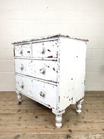 Small Distressed White Painted Victorian Chest of Drawers (7 of 10)