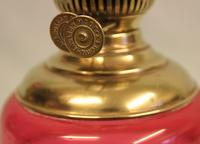 Antique Victorian Cranberry Glass Oil Lamp (4 of 4)
