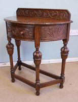 Antique Jacobean Style Carved Oak Demi Lune Side Table (7 of 8)