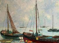 Marion Coker Leigh on Sea Fishing Boats Seascape Sailing Oil Painting (12 of 15)