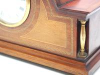 Fine Edwardian Mahogany Arched Clock Multi Wood Inlay Timepiece Mantel Clock (6 of 9)