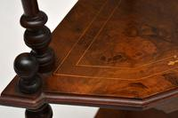 Antique Victorian Walnut Inlaid Corner Whatnot (9 of 15)