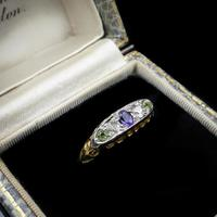 Antique Amethyst Peridot and Diamond Scroll Boat 18ct Yellow Gold Ring (2 of 10)