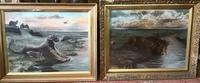Large Pair of Victorian Paintings of Male & Female Lions   Signed & Dated 1895