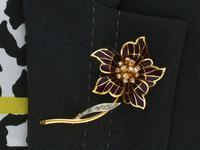 0.47ct Diamond & Plique a Jour Enamel, 18ct Yellow Gold Brooch - Vintage 1954 (9 of 9)