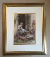 Charles Edward Wilson Watercolour 'eating breakfast on the doorstep' (2 of 2)