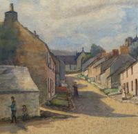 Large Original Edwardian Antique Yorkshire Hamlet Landscape Watercolour Painting (7 of 13)