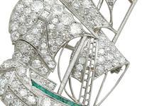 2.65ct Diamond & 0.28ct Emerald, Platinum Ship Brooch - Antique c.1910 (3 of 10)