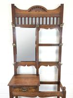 Antique Oak Arts & Crafts Mirrored Hall Stand (10 of 11)