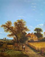 Original Victorian Harvest Countryside Landscape Oil Painting (5 of 10)