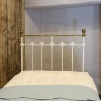 Antique White Decorative Brass & Iron Victorian Single Bedstead (7 of 7)