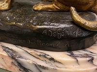 Delightful Patinated Bronze Animalier Study of a Domestic Dog & Cat (3 of 6)