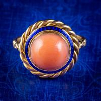 Antique Victorian Coral Enamel Ring 15ct Gold Circa 1900