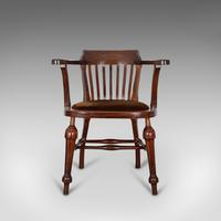 Antique Captain's Chair, English, Mahogany, Armchair, Seat, Edwardian c.1910 (12 of 12)