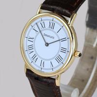 Vintage Tiffany & Co 14ct Solid Gold 31mm Slim Thin Men's / Ladies Quartz Watch with box (3 of 15)