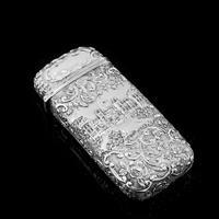 "Antique Solid Silver Victorian Cigar Cheroot Case ""Castle Top"" Windsor Castle Design - Nathaniel Mills 1844 (2 of 12)"