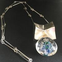 Lapponia Sterling Silver & Acrylic Pendant / Necklace by Bjorn Weckstrom
