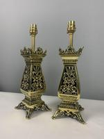 Pair Of Victorian Pierced Brass Table Lamps; Rewired And Pat Tested (6 of 10)