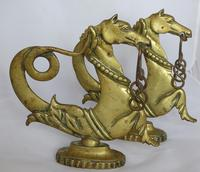 Rare pair of 19th century Venetian brass gondola seahorse rope holders