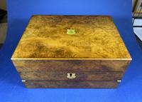 Victorian Burr Walnut Jewellery & Writing Box.