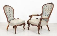 Pretty Pair of Victorian His and Her Walnut Parlour Chairs (7 of 9)